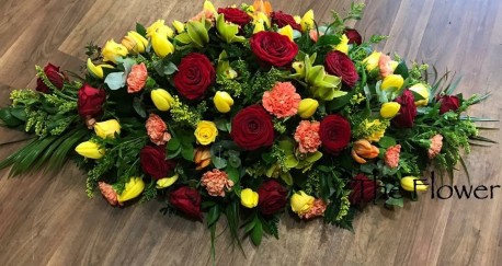 Red, Yellow and Orange Casket Spray