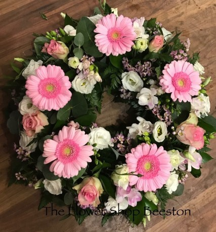 Pink and White Gerbera Wreath