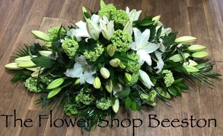 White Lily and Lime Green Casket Spray