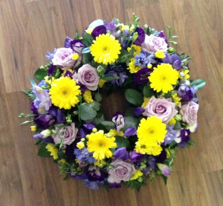 Purple, Yellow and Lilac Wreath
