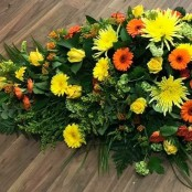 Yellow and Orange Autumn Casket Spray