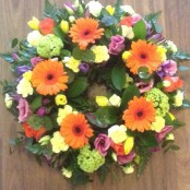 Cerise Pink, Orange and Yellow Wreath