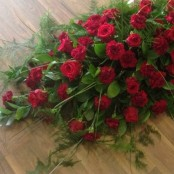 Red Rose and Red Carnation Casket Spray