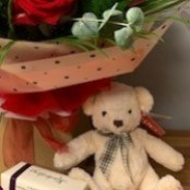 12 Red Rose Hand Tied, Teddy and Kimberley's English Handmade Chocolates