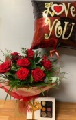 12 Red Rose Hand Tied, Balloon and Begian Chocolates