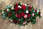 Red Rose and Pink Carnation Casket Spray